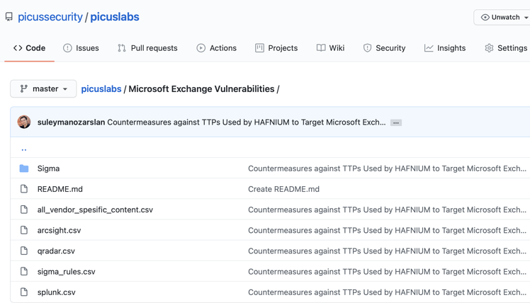 Picus Labs Github Page Microsoft Exchange Server Countermeasures