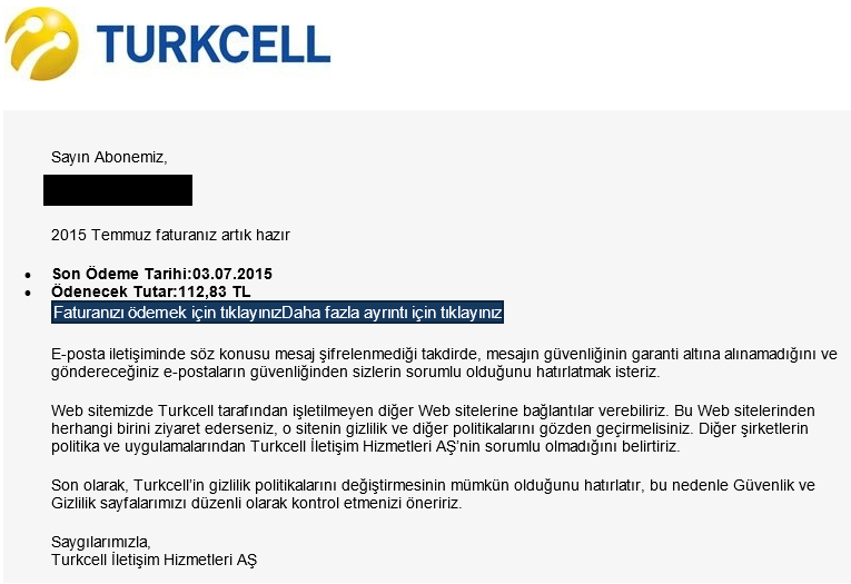 Fake Turkcell invoice email